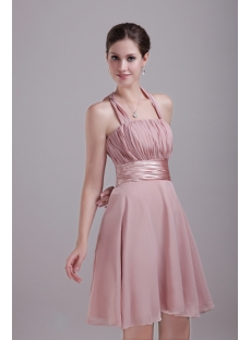 Halter Chiffon Champagne Bridesmaid Gown Discount 1269