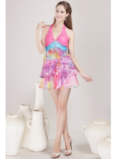 Halter Mini Colorful Homecoming Dress 4485