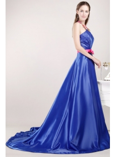 Halter Royal Princess Prom Dress 2013 with Open Back