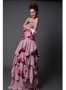 High Low Strapless Sweetheart Knee-Length Long / Floor-Length Chiffon Elastic Silk-like Satin Prom Dress H2231-2