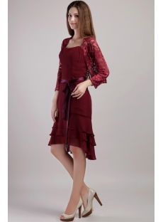 High-low Hem Mother Groom Short Dress with Jacket 2238