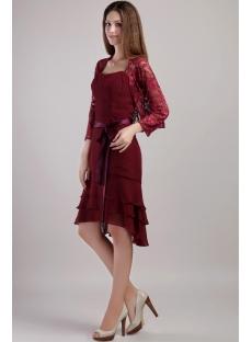 High-low Hem Mother Groom Short Dress with Jacket 2238