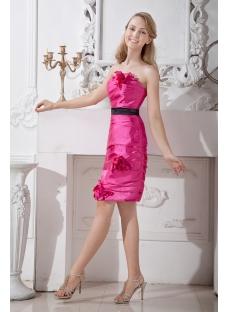 Hot Pink Column Short Homecoming Dress