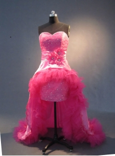Hot Pink Floor-Length Taffeta Prom Dress 1780