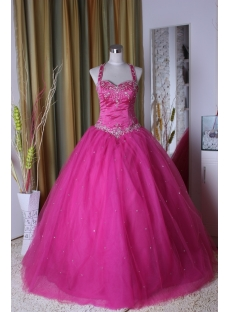 Hot Pink Princess Strapless Long / Floor-Length Satin Tulle Ball Gown 5301