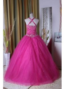 Hot Pink Princess Strapless Long Floor Length Satin