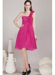 Hot Pink Short Bridesmaid Dress for Beach
