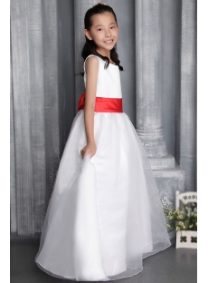 Hot Sale Ivory and Red Flower Girl Dress 2690
