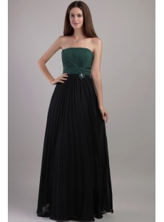 Hunter Green and Black Pleat Beach Bridesmaid Dresses 2174