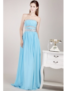 Ice Blue Long Chiffon Party Dress