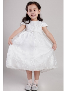 Ivory Baby Doll Style Flower Girl Dresses with Cap Sleeves 2163