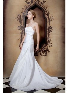 Ivory Cheap Beautiful Wedding Dresses with Spaghetti Straps