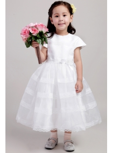 Ivory Dresses for Flower Girl in Wedding with Short Sleeves 1978