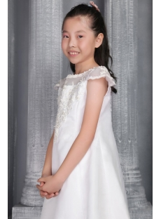 Ivory Exquisite Toddler Flower Girl Gown with Cap Sleeves 2591