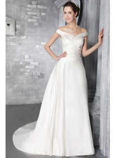 Ivory Off Shoulder Mature Bridal Gown 2842