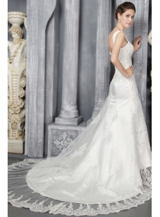 Ivory Sheath Lace Bridal Gowns with Open Back 2886
