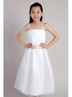 Ivory Spaghetti Straps Flower Girl Dresses for Less 2317