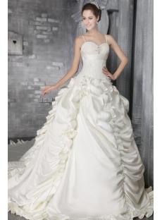 Ivory Spaghetti Straps Gothic Bridal Gowns 2749
