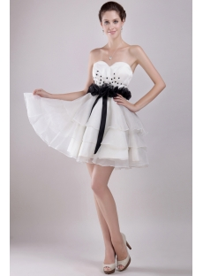Ivory and Black Short Sweet 16 Dresses Cheap