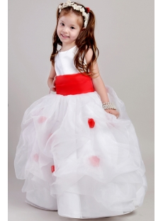 Ivory and Red Toddler Little Bridal Dress 2053