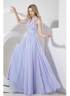 Lavender Chiffon Mother of Groom Dress with V-neckline