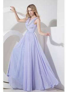 Lavender Chiffon Mother of Groom Dress with V-neckline
