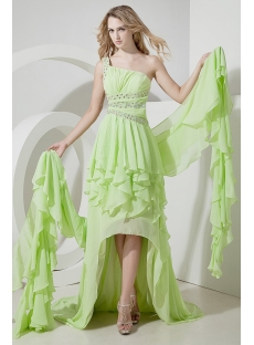 Light Green Backless One Shoulder Pageant Dresses for Women