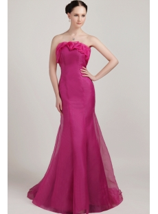 Long Hot Pink Sheath Pretty Prom Dress