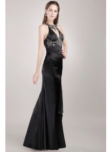 Luxury Black Sheath Sexy Evening Dress with Slit