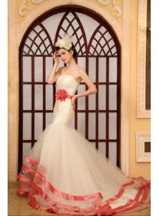Mermaid Sweetheart Chapel Train Organza Wedding Dress With Sashes Flower(s)