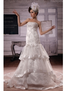 Mermaid Sweetheart Chapel Train Satin Organza  Wedding Dress With Lace