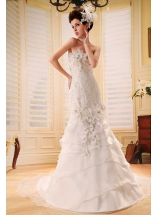 Mermaid Sweetheart Sweep Train Satin Organza Wedding Dress With Lace Beadwork F-120