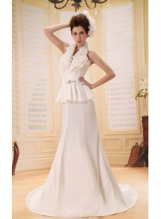 Mermaid V-neck Court Train Taffeta Wedding Dress With Ruffle Flower(s) F-124