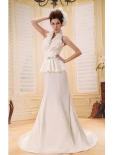 Mermaid V-neck Court Train Taffeta Wedding Dress With Ruffle Flower(s) F-124