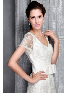 Modest Lace Mermaid Bridal Gown with Short Sleeves 2498