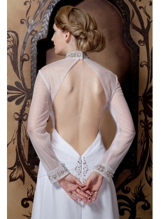 Modest Long Sleeved Wedding Dresses with Open Back