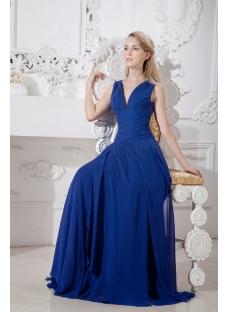 Navy Blue Formal Evening Dress with V-Neckline