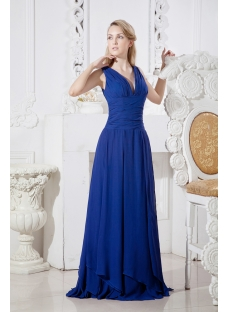 Navy Blue Formal Evening Dress with V-Neckline