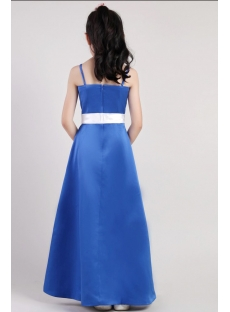 Navy Blue Long Junior Bridesmaid Dresses 2392