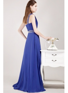 Navy Blue Military Inspired Prom Dresses with One Shoulder