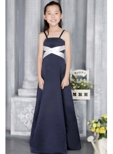 Navy and Ivory Junior Bridesmaid Dresses with Straps 2724