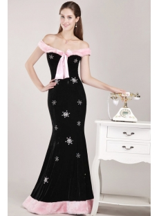 Off Shoulder Black Velvet Christmas Party Dress