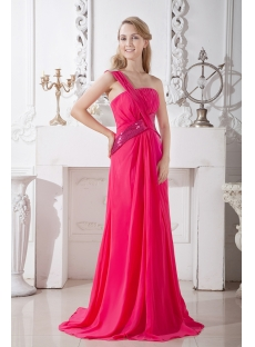 One Shoulder Chiffon Evening Dress Cheap