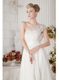 One Shoulder Informal Mature Western Bridal Gown