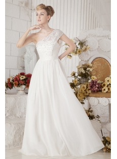 One Shoulder Informal Mature Western Bridal Gown