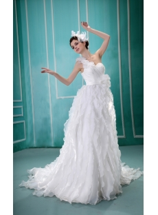 One-Shoulder Sweep Train Satin Organza Wedding Dress With Sashes F-118