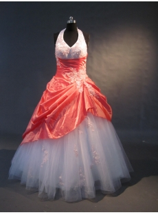 Orange And White Floor-Length Taffeta Tulle Quinceanera Dress 1513