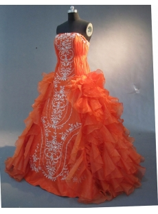 Orange Floor-Length Satin Organza Quinceanera Dress 1754