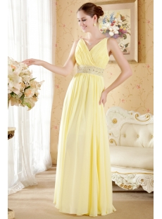 Perfect Yellow Prom Dresses Cheap V-neckline