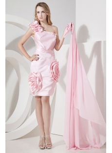 Pink Detachable Skirt Sweet 16 Dresses with One Shoulder